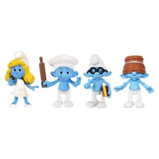 The Smurfs Movie Collectible Figure 4 Pack Clumsy, Baker, Smurfette & Brainy