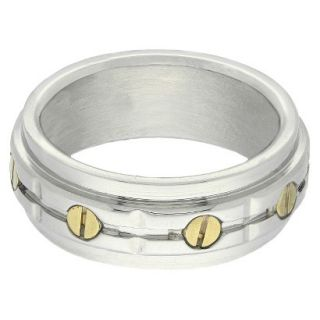 Stainless Steel Two Tone Mens Bolt Ring   Silver/Gold (Size 10)