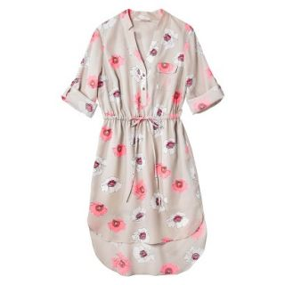 Merona Womens Drawstring Shirt Dress   Pink Floral   L