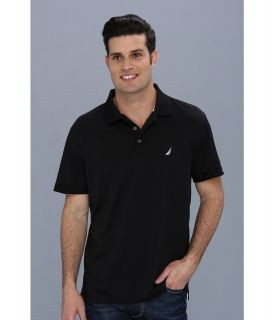 Nautica Solid Tech Pique Shirt Mens Short Sleeve Pullover (Black)