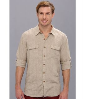 Lucky Brand Grant Linen Safari Shirt Mens Long Sleeve Button Up (Beige)