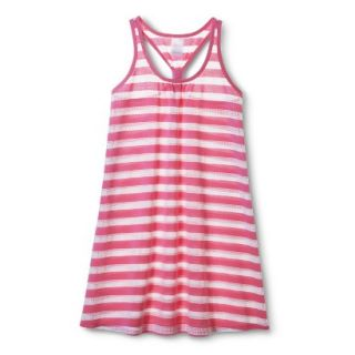 Girls Striped Cover Up Dress   White/Pink M