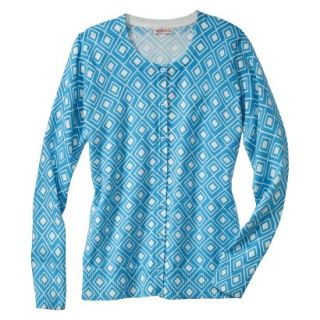 Merona Womens Ultimate Long Sleeve Crew Neck Cardigan   Blue/Cream Print   XS