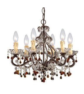 Paris Flea Market 6 Light Mini Chandeliers in Dark Rust 4507 DR