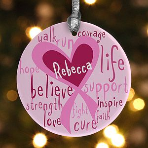 Personalized Christmas Ornaments   Breast Cancer Awareness Pink Ribbon