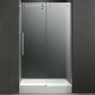 VIGO 60 inch Frameless Shower Door 3/8 Frosted/Chrome Hardware Left with White