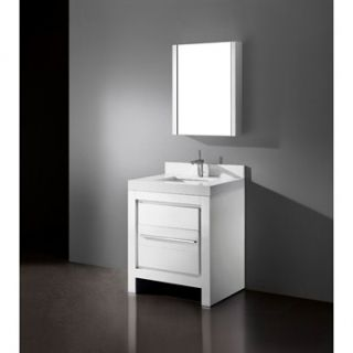 Madeli Vicenza 30 Bathroom Vanity with Quartzstone Top   Glossy White