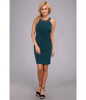Laundry by Shelli Segal Sleeveless Jersey Dress w/ Beaded Neckline Womens Dress (Green)