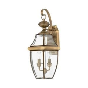Filament Design 2 Light Outdoor Antique Brass Clear Glass Wall Mount Light CLI GH8048146