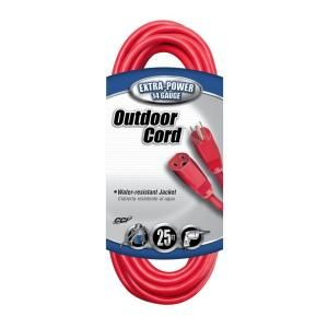 Coleman Cable 25 ft. 14/3 SJTW Outdoor Vinyl Extension Cord 024078804