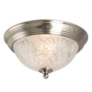 Hampton Bay 2 Light Flush Mount Brushed Nickel Ceiling Light 002 80191BN
