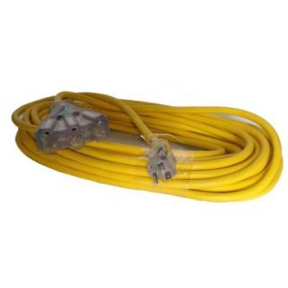 GenTran 50 ft. 12/3 Extension Cord Yellow with 15 Amp Standard Male Plug to Three 15 Amp Female Receptacles RJB12350YL