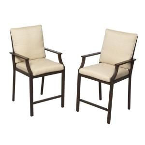 Hampton Bay Millstone Patio High Dining Chair with Desert Sand Cushion (2 Pack) FCA65098H TPK