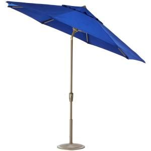 Home Decorators Collection 9 ft. Auto Tilt Patio Umbrella in Blue Sunbrella with Champagne Frame 1548920310