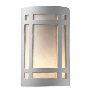 Filament Design Leonidas 2 Light 9 in. Paintable Ceramic Bisque Large ADA Craftsman Window Open Top and Bottom Wall Sconce CLI CER5495 BIS