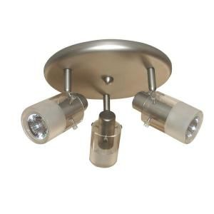 Hampton Bay 3 Light Brushed Steel Ceiling Mount Round Light Fixture EC337BA