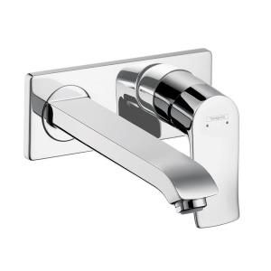 Hansgrohe Metris E Wall Mount 1 Handle Low Arc Bathroom Faucet in Chrome 31086001