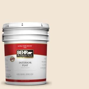 BEHR Premium Plus 5 gal. #1813 Cottage White Flat Interior Paint 105005