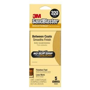 Sandblaster 3 2/3 in. x 9 in. 320 Grit Very Fine No Slip Grip Sandpaper (5 Pack) 11320 G