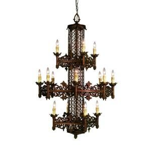 Eurofase Modesa Collection 16 Light 234 in. Hanging Rustic Bronze Chandelier 17491 013