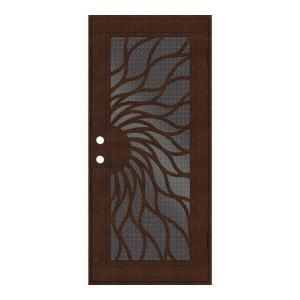 Unique Home Designs Sunfire 36 in. x 80 in. Copper Right Hand Recessed Mount Aluminum Security Door with Black Perforated Aluminum Screen 1S2001EN1CCP5A