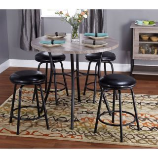 Jaxx Collection 5 Piece Adjustable Height Dining Set with Backless Barstools, Multiple Colors Furniture
