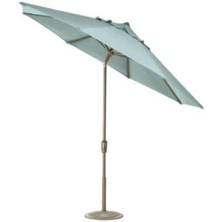 Home Decorators Collection 11 ft. Auto Tilt Patio Umbrella in Mist Sunbrella with Champagne Frame 1549720340