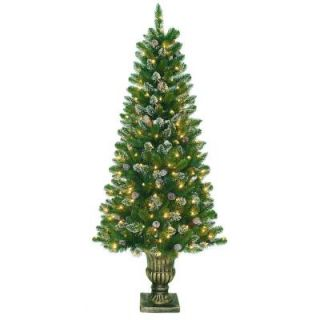 National Tree Company 6 ft. Artificial Crystal Spruce Entrance Tree with 200 Clear Lights CRY10 306 60