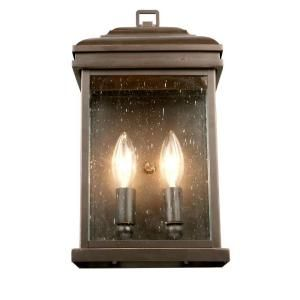 Hampton Bay 2 Light Outdoor Oil Rubbed Bronze Wall Lantern FFB1612A 3