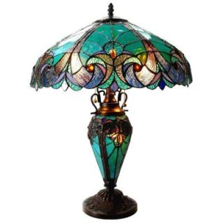 Chloe Lighting Liaison 24.5 in. Tiffany style Victorian Bronze Double Lit Table Lamp CH18780VG18 DT3