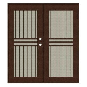 Unique Home Designs Plain Bar 60 in. x 80 in. Copper Left Hand Surface Mount Aluminum Security Door with Beige Perforated Aluminum Screen 1S1001JL1CCP2A