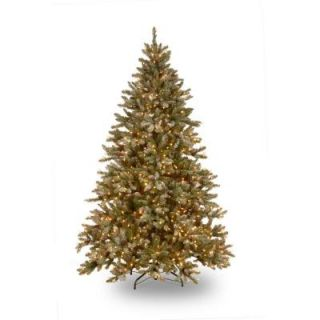 Martha Stewart Living 9 ft. Pre Lit Snowy Fir Hinged Artificial Christmas Tree with Clear Lights SR1 309E 90X