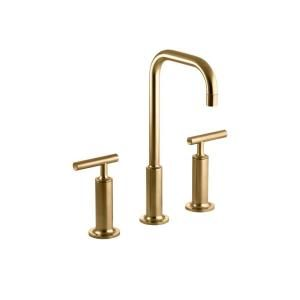 KOHLER Purist 8 in. Widespread 2 Handle Mid Arc Bathroom Faucet in Vibrant Moderne Brushed Gold with High Gooseneck Spout K 14408 4 BGD