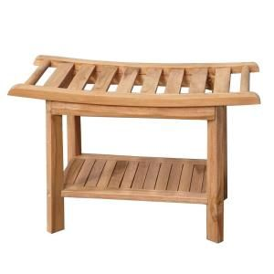 30 in. Teak Curved Slatted Shower Seat ISS145