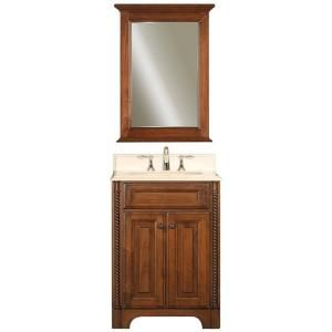 Water Creation Spain 24 in. Vanity in Classic Golden Straw with Marble Vanity Top in Sahara and Matching Mirror SPAIN 24B
