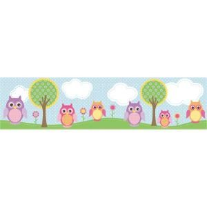 Brewster 6 in. Owls in The Hood Light Blue Owl Border 443B97623