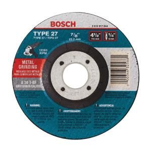 Bosch 4 1/2 in. x 1/4 in. x 7/8 in. Type 27 Grinding Wheel GW27M450