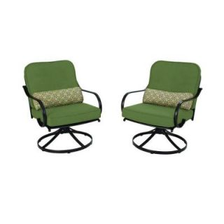 Hampton Bay Fall River Motion Patio Lounge Chair with Moss Cushion (2 Pack) DY11034 LA 2