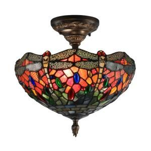 Dale Tiffany Sonota 3 Light Dark Antique Brass Semi Flush Mount with Art Glass Shade TH12235