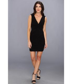 BCBGMAXAZRIA Edesa V Neck Shirred Cocktail Dress Womens Dress (Black)