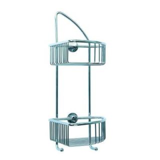 No Drilling Required Draad Rustproof Solid Brass Shower Caddy 16 in. Double Shelf Corner Mount with Hook in Chrome DK210 CHR