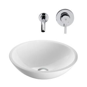 Vigo Flat Edged Stone Glass Vessel Sink in White Phoenix and Wall Mount Faucet Set in Chrome VGT224