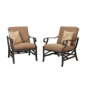 Hampton Bay Pine Valley Patio Deep Seating Chair with Linen Spice Cushion (2 Pack) S2 ACQ01120