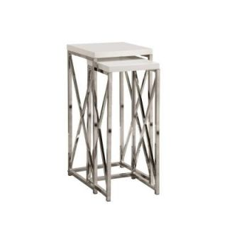 Glossy White with Chrome Metal Plant Stand Set (2 Pieces) I 3026