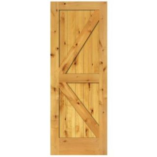 Steves & Sons 2 Panel Barn Door Solid Core Prefinished Natural Knotty Alder Interior Door Slab M64JKNNNACP9