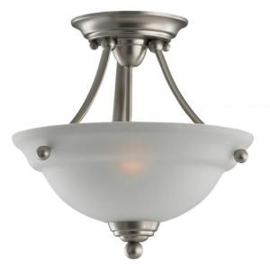Sea Gull Lighting Wheaton 2 Light Brushed Nickel Semi Flush Mount Fixture 77625 962