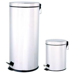Automatic Home Products 30 l Round with 5 l Combo Pack Stainless Steel Step Lid Polished Trash Can SSTC305RW