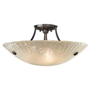 LBL Lighting Ambra Bowl 3 Light Ceiling Semi Flush Mount Amber Bronze Light JC399AMBZ2D100
