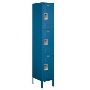 Salsbury Industries 53000 Series 15 in. W x 78 in. H x 18 in. D Triple Tier Extra Wide Metal Locker Assembled in Blue 53168BL A