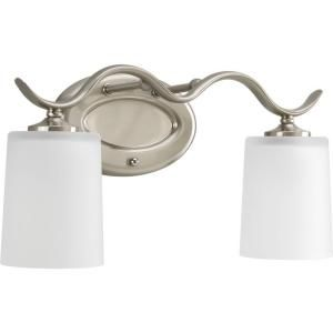 Progress Lighting Inspire Collection Brushed Nickel 2 Light Vanity Fixture P2019 09